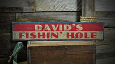 Custom Lake House Fishin Hole Sign - Rustic Hand Made Vintage Wooden ENS1001093