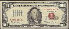 Just Listed! 1966 $100 DOLLAR BILL UNITED STATES LEGAL TENDER RED SEAL NOTE CURRENCY Fr 1550 https://www.paper-money-collector.com/product/1966-100-dollar-bill-united-states-legal-tender-red-seal-note-currency-fr-1550/ #Numismatics #UnitedStates