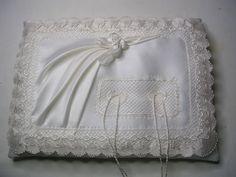 cuscinetto portafedi nuziali tessuto e filo: pura seta