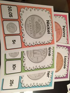Money activities and posters Canadian coin posters. Teaching Money, Teaching Math, Maths, Teaching Ideas, Numbers Kindergarten, Math Numbers, Money Activities, Math Resources, 1st Grade Math