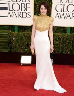 Michelle Dockery wows in an Alexandre Vauthier Couture gown at the Golden Globes 2013
