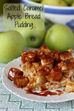 The perfect way to end the day, or in some cases start the day! Salted Caramel Apple Bread Pudding recipe. A little bit of Fall inspiration. #ad #GladeForFall