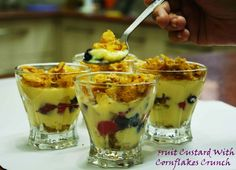 Fruit Custard With Cornflakes Crunch  To a wonderful day ahead #cheerful #morning #bepositive #dessert #fruitcocktail #custard #cornflaks #crunchy #fruitcustard #yummy Recipe at: www.annapurnaz.in