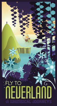 retro & Mary Blair inspired Neverland travel poster by Mr-Bluebird on deviantart