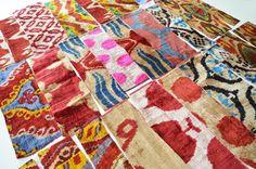Sukan / Scrap ikat fabric silk velvet uzbek ikat fabric by sukan