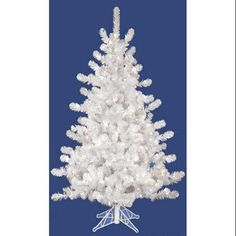 3' Pre-Lit White Crystal Pine Artificial Spruce Christmas Tree - Clear Lights