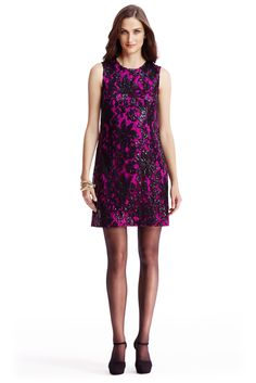 The DVF Kaleb embellished lace shift dress in hot orchid lights up a room! #DVFholiday