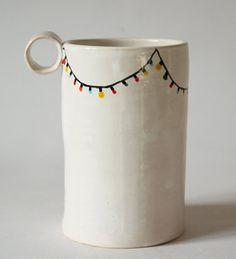 from Poland Ceramic mug with christmas lights  by clayopera on Etsy, $30.00