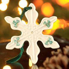 Belleek Ornaments from Ireland Celtic Christmas, Christmas Love, Merry Christmas, Snowflake Ornaments, Snowflakes, Christmas Ornaments, Irish Pottery, Belleek China, Belleek Pottery