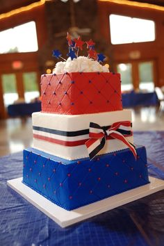 Red White And Blue Decorations | Red White and Blue Wedding Fourth of July Cake
