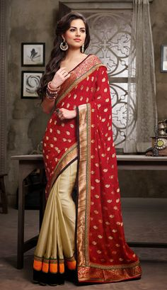 USD 80.11 Red and Beige Jacquard Half N Half Party Wear Saree 35890