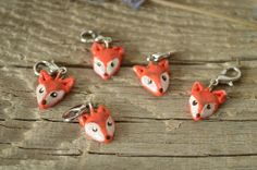 Made to Order - Set of 5 Polymer Clay Fox Knitting and Crochet Removable Stitch Markers