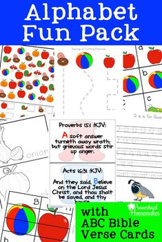 Download this free alphabet printable pack for fun learning activities for preschool and kindergarten! Includes I Spy, puzzles, Bible verses, & more! #homeschool #preschool #kindergarten #printable Kindergarten Lessons, Preschool Learning, Fun Learning, Preschool Activities, Teaching Kids, Abc Bible Verses, Alphabet Activities, Preschool Alphabet, Homeschool Curriculum