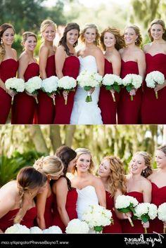 Winter Wedding Red Bridesmaid Dresses