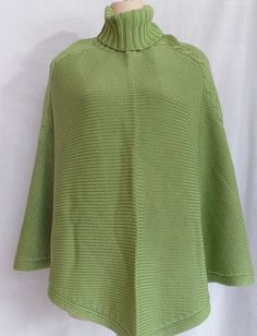 Terry-Lewis-Classic-Luxuries-Cable-Knit-Poncho-Cape-Turtleneck-Lime-Green-Missy