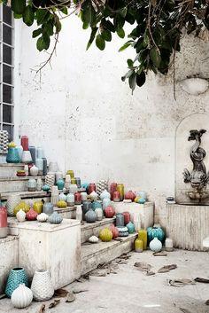 Pottery from Broste Copenhagen - spring/summer 2014 - Photographer: Line This Klein - Stylist: Nathalie Schwer Ceramic Pottery, Ceramic Art, Sofa Lounge, Design Textile, Broste Copenhagen, Copenhagen Denmark, Cool Ideas, Diy Ideas, Decor Ideas