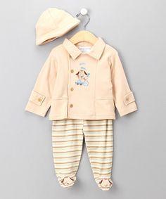 Look at this #zulilyfind! Tan Puppy Footie Pants Set - Infant #zulilyfinds