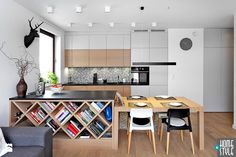 Kitchen Layout Design Planning: Important Measurements You Need to Know Small Apartment Interior, Interior Design Living Room, Living Room Kitchen, Kitchen Decor, Modern Kitchen Interiors, New Kitchen Designs, Kitchen Island With Seating, Kitchen Cabinetry, Kitchen Layout