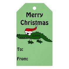 Funny Alligator in Santa Hat Gift Tags #alligators #gittags #CHristmas #funny And www.zazzle.com/tickleyourfunnybone*