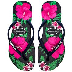 Havaianas Slim Floral Flip Flop in Navy Blue Floral Flip Flops, Beach Flip Flops, Crocs, Floral Print Shoes, Printed Shoes, Rubber Sandals, Rubber Shoes, Rubber Flip Flops, Floral Sandals