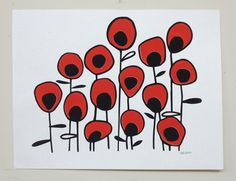 Poppy Red Valentine Flowers - Art Print - READY TO SHIP. $26.00, via Etsy.