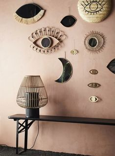 This hanging moon mirror by Madam Stoltz is made from Brass coloured iron. Its neat size makes it a great addition to small spaces like bathrooms and Table Lanterns, Table Lamp, Moon Mirror, Wall Mirror, Sweet Home, Bamboo Table, Moving Furniture, Home Living, Living Room