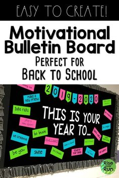 I love this back to school bulletin board design! It is motivational and looks great in the hallway.  Easy to create and great way to welcome students to class.  Awesome idea for colorful classroom decoration.