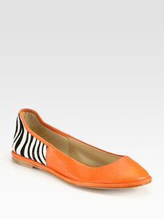 Diane von Furstenberg Botswana Leather and Zebra-Print Calf Hair Ballet Flats