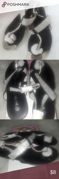 Black Crystal Embellished  Sandals These sandals feature a faux leather material, crystal accents. Great for that casual look. Shoes Sandals