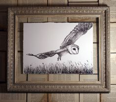 Wonderland Limited Edition Print Collection: Morning Flight no.9 of 50, Signed Giclee Print in an Ornate Antique Frame  An atmospheric, contemporary rendering of a barn owl flying over a meadow. Most mornings and at dusk, the exquisite majesty of this raptor captivates us in the field opposite our home.  A barn owl is also a regular and magical sight at our gallery at Creake Abbey, Norfolk.  The limited edition fine art print is framed in a restored ornate antique frame with a deep profile…