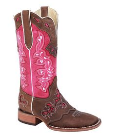 Look what I found on #zulily! Brown & Pink Embroidered Saddle Cowboy Boot #zulilyfinds