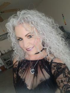 Sarah Chapman long grey hair natural curl