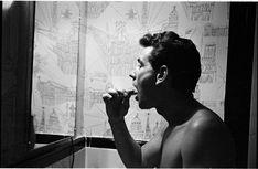 Leonard Bernstein brushing his teeth. 1949
