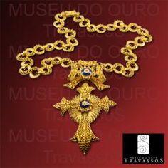 Portuguese 19.2K Gold Filigree Christian Cross Pendant Necklace Chain $6,480.00