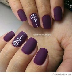 matte-purple-nails-with-polka-dots