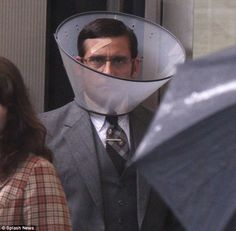human wearing dog cone - Google Search Dog Cone, Steve Carell, Cryptocurrency News, My Portfolio, Memes, Fictional Characters, Google Search, Halloween, Celebrities