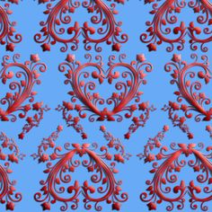 Floral Hearts Seamless Pattern Blue fabric by stradling_designs on Spoonflower - custom fabric