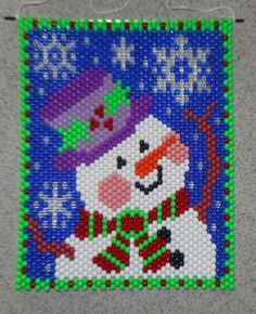 Handmade Christmas Welcome Snow Snowman Beaded Banner with Nylon Cord Hanger Beaded Christmas Ornaments, Christmas Cross, Handmade Christmas, Christmas Jewelry, Christmas Snowman, Xmas, Punch Needle Patterns, Bead Loom Patterns, Kandi Patterns