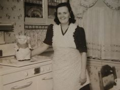 Vintage Photograph Shawnee Pig Cookie Jar,Proud Owner 1940's Kitchen Snapshot