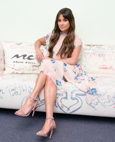 SITTING PRETTY      Lea Michele strikes a pose during a visit to Music Choice in New York City on Thursday.  Star Tracks: Friday, April 28, 2017