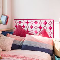 This geometric headboard will give your bedroom a quick and affordable make over. It will save you space but it will definitely make a statement. It comes in 4 sizes so it fits most common beds and in 30 different colours to match your bedroom decor. Wall Decal Sticker, Wall Stickers, Bedroom Decor, Bedroom Wall, Wall Design, Your Space, Things To Come, Furniture, Home Decor