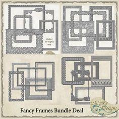Fancy Frames Bundle Deal - $12.60 : Digital Scrapbooking Studio Digital Scrapbooking, Frames, Diagram, Fancy, Display, Studio, Design, Floor Space, Billboard
