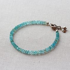 Blue Apatite Sterling Silver Beaded Bracelet by TheGoosle on Etsy