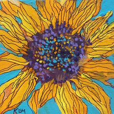 Sunflower on Turquoise 4x4 acrylic on canvas by Karen Margulis