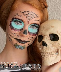 Sugar Skull set of temporary tattoos - easy to use. The Sugar Skull tattoo set - LARGE tattoo set -- contains a lot of variations that you can play with and create a unique look. Calavera mask - day of the dead temporary tattoos set. They are great for adults and children, they can be trim...