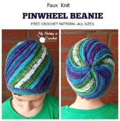 Crochet Beanie Ideas My Hobby Is Crochet: Faux Knit Pinwheel Beanie (All sizes) - Free Crochet Pattern - Faux Knit Pinwheel Beanie (All sizes) - Free Crochet Pattern Tutorial Spiral Crochet, Crochet Cap, All Free Crochet, Crochet Gifts, Free Knitting, Crochet Braids, Knitting Ideas, Double Crochet, Single Crochet