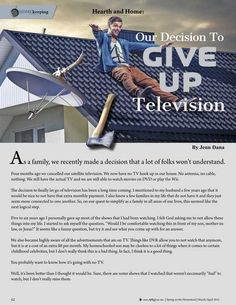 """Our Decision to Give Up Television by Jenn Dana. """"The decision to finally let go of television has been a long time coming...""""Molly Green - March/April 2015 - Page 62"""