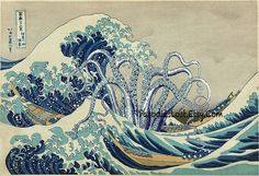 The famous woodblock print by the great Japanese artist Hokusai depicts an open sea wave threatening fishing boats off of Kanagawa. Description from etsy.com. I searched for this on bing.com/images