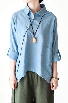 Light blue cotton shirt linen blouse women asymmetrical buttons top