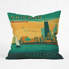 Chicago Skyline Throw Pillow Cover | dotandbo.com
